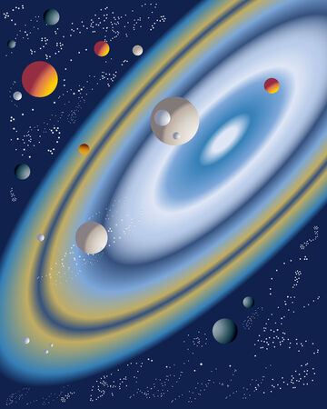 an illustration of a group of planets with stars and rings with a deep blue background