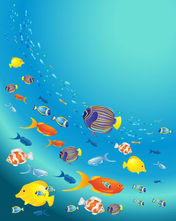 an illustration of a variety of tropical fish swimming in a deep blue ocean Иллюстрация