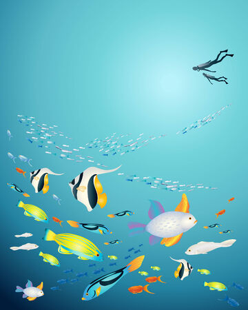 an illustration of an underwater scene with tropical fish and deep sea divers Vector