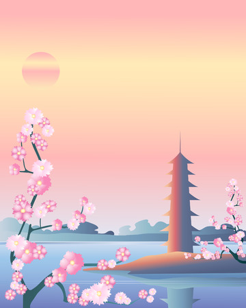 japanese garden: an illustration of a japanese pagoda by a crystal pool at sunset with pink blossom trees in the foreground Illustration