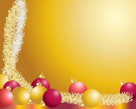 tinsel: a background illustration with christmas decorations and tinsel  Illustration