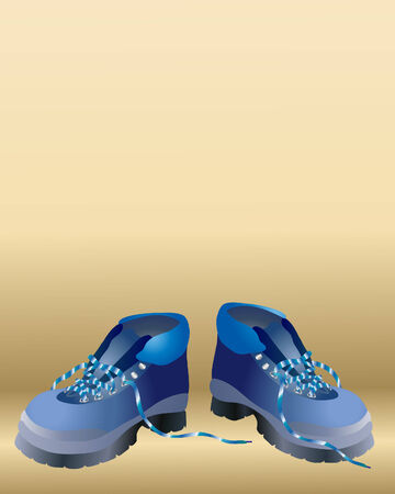 walking boots: an illustration of a pair of blue walking boots on a brown background