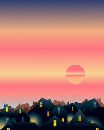 an illustration of an evening sky with setting sun over city rooftops
