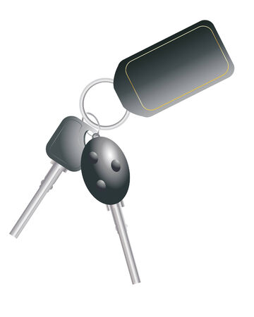 key ring: an illustration of car keys with black name tag left blank for your design