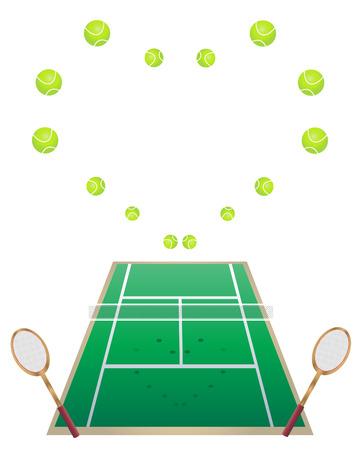 una ilustración de una cancha de tenis con raquetas de tenis y pelotas de tenis en forma de corazón  Foto de archivo - 8271031