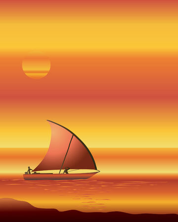 an illustration of a dhow boat sailing on an ocean at sunset