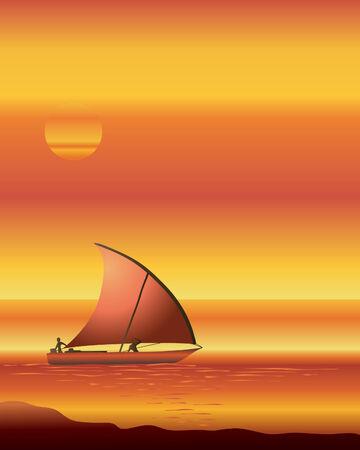 una ilustración de un barco de dhow navegando en un océano al atardecer Ilustración de vector