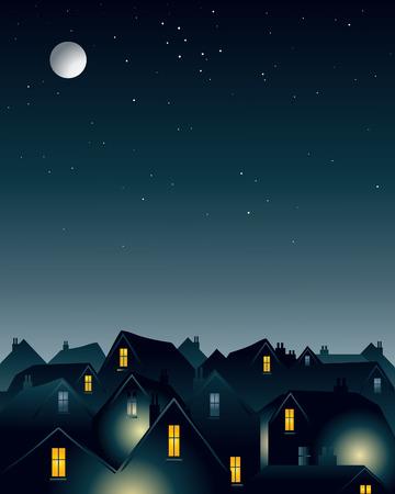 an illustration of a full moon over the rooftops of a city Stock Vector - 8271036