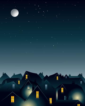 rooftop: een illustratie van een volle maan op de daken van een stad