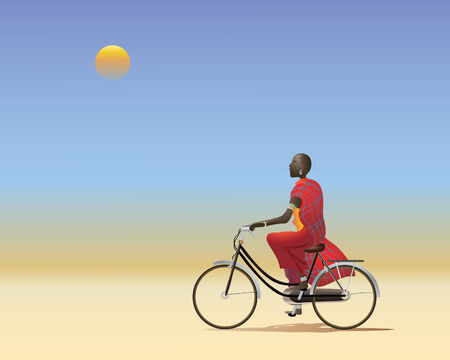 plains: an illustration of a masai man on a bicycle riding along a dusty track across the african plains Illustration