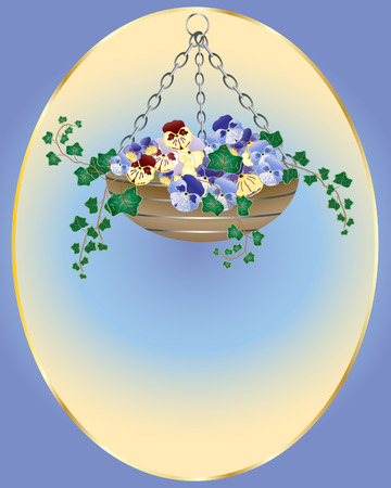 colurful: an illustration of an easter hanging basket with pansy flowers and ivy
