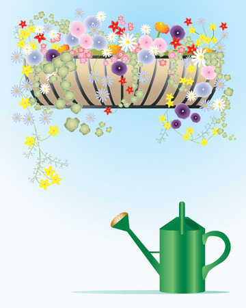 an illustration of a hay rack filled with summer flowers with a green watering can and a blu and white background Stock Vector - 8325069
