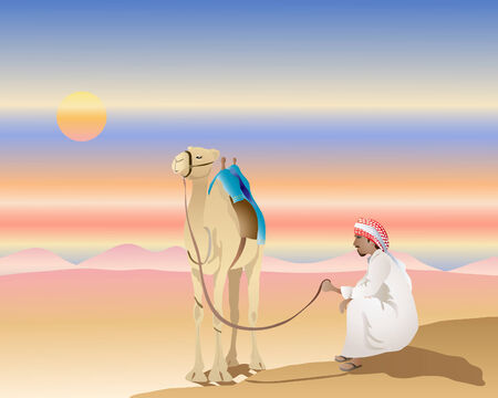 an illustration of a man with a camel in a desert landscape at sunset Vector