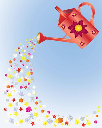 une illustration des lots de fleurs colorées coulage d'un arrosage rouge peut décorée avec un dessin floral