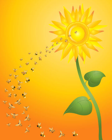 swarm: an illustration of a bright yellow sunflower with a swarm of bees flying towards the center on a honey background