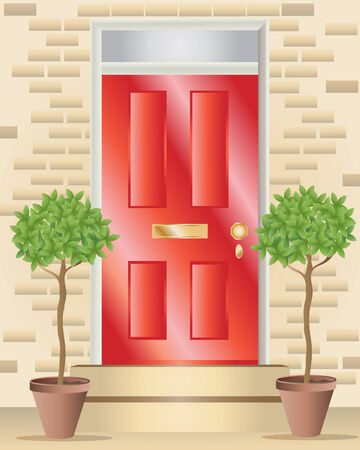an illustration of a bright red shiny front door with brass fittings some steps and two bay trees Ilustrace