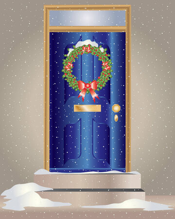 an illustration of a christmas holly wreath hanging on a blue front door with snow Ilustrace