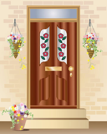 an illustration of a fancy front door with summer hanging baskets full of flowers Stock Vector - 8414518