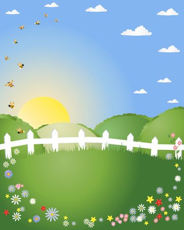 an illustration of a summer morning with patchwork fields a white fence flowers and fluffy clouds with bees and a blue sky Stock Vector - 8441162