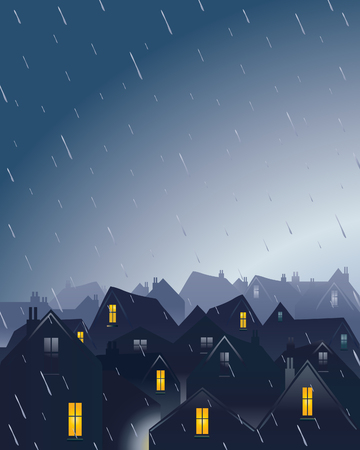 rainy season: an illustration of a rainy evening over rooftops with a dramatic sky Illustration