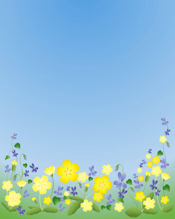 an illustration of yellow primroses and purple violets under a blue sky in springtime Stock Vector - 8495780