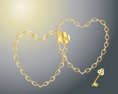 interlocked: illustration of two gold colored chains in the form of interlocked hearts with a padlock and key