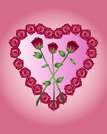 long stem roses: an illustration of a heart shape made up of red roses with three long stem blooms in the centre on a pink background Illustration