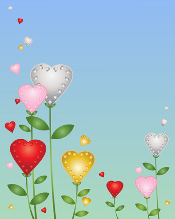 heart shaped leaves: an illustration of flowers in the shape of love hearts in rewd gold silver and pink on a blue green background