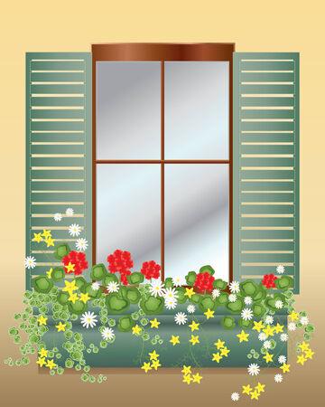 Illustration einer Fenster-Box mit Geranien bidens und Margeriten auf ein altes Haus mit hölzernen Fensterläden in der Sonne