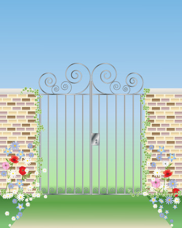 An Illustration Of An Ornamental Gateway With Garden Walls And Flowers  Under A Blue Sky Stock