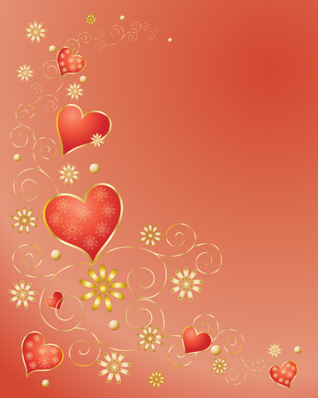 an illustration of red and gold hearts and flowers with golden scrolls on a red background Vector