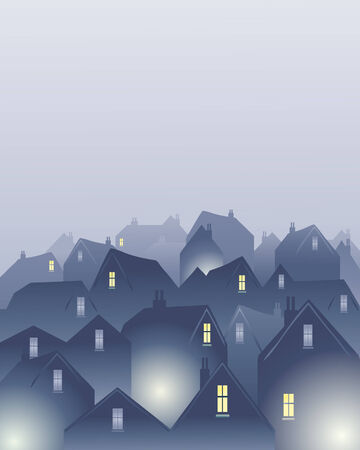 an illustration of rooftops in a city on a misty day