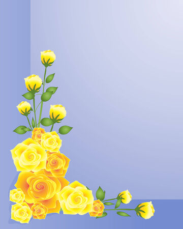 yellow roses: an illustration of an arrangement of yellow roses in one corner on a purple blue background