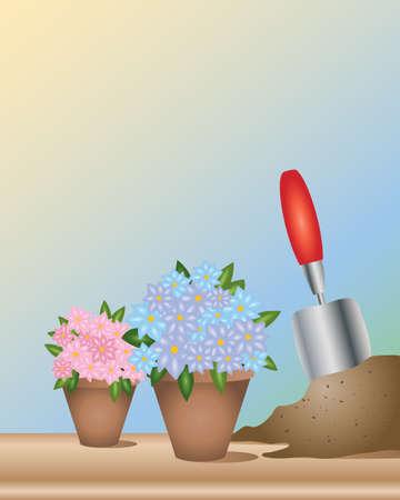 kompost: eine Illustration von zwei T�pfen Blumen mit einer Kelle Garten und einige Kompost