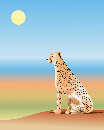 plains: an illustration of an adult cheetah and her cub looking across the african plains          Illustration