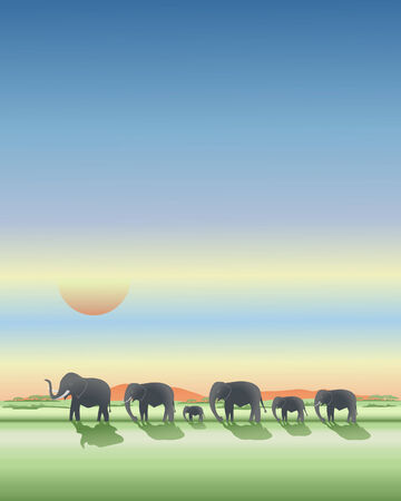 an illustration of african elephants walking along the plains at sundown under a dramatic sky
