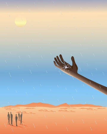 rains: an illustration of rains arriving in africa with an arrid landscape and dramatic sky Illustration