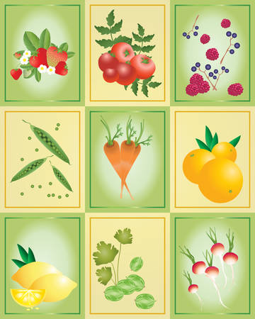 home grown: an illustration of tiles with a variety of fruit and vegtables on a green and yellow background