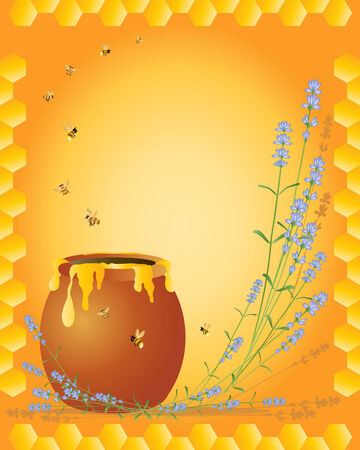 an illustration of a honey pot with bees and lavender flowers on an orange and honeycomb background