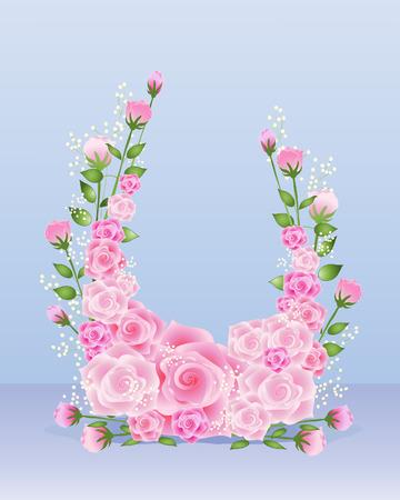 een illustratie van een bloemstuk in de vorm van een hoefijzer met roze rozen op een blauwe achtergrond