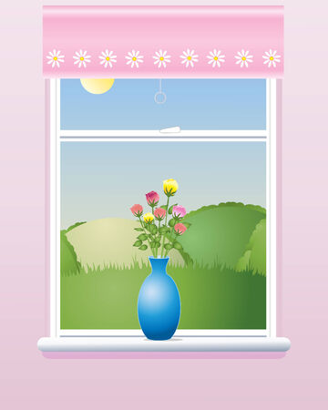 an illustration of a room window in summer with a pink blind a vase of roses and a view of rolling hills under a blue sky Vector