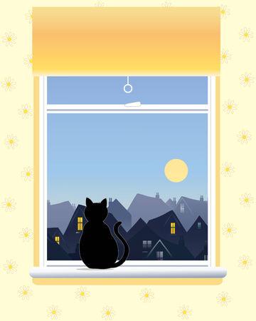 vista ventana: una ilustraci�n de una ventana con una naranja ciego un gato negro y una vista a trav�s de los tejados de la ciudad en una ma�ana soleada