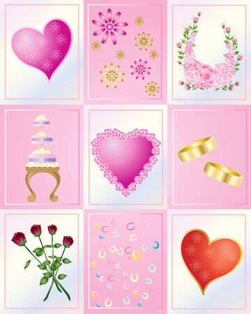 an illustration of hearts flowers confetti cake and wedding rings on pink and pearl tiles Vector