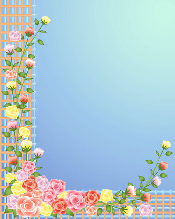 an illustration of pink and yellow roses on wooden trellis on a jade blue background Vector