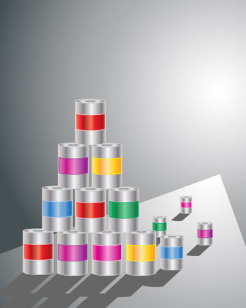 an illustration of a stack of metal cans with colorful labels on a gray background with shadows Stock Vector - 8744481