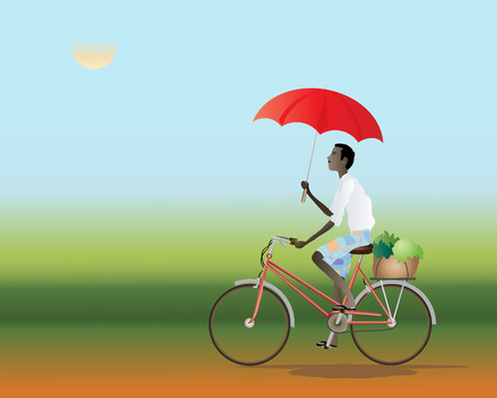 rural india: an illustration of an asian cyclist travelling on a red dusty track using a red umbrella as a parasol Illustration