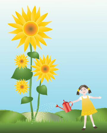 an illustration of a girl watering tall sunflowers under a blue sky