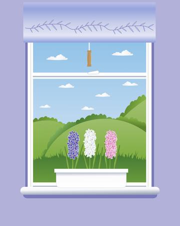 vista ventana: una ilustraci�n de tres flores jacintos en un alf�izar con una hermosa vista