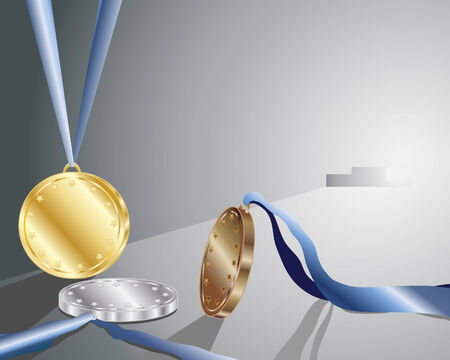 an illustration of gold silver and bronze winners medals in front of a podium backlit in gray light Vector