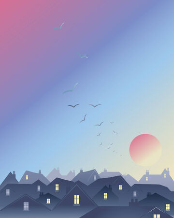 an illustration of a red sky over a city skyline with sun and a flock of birds Stock Vector - 8976415